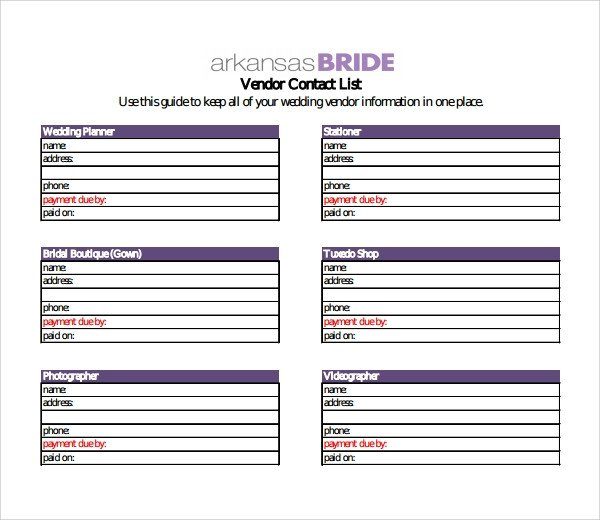 Wedding Vendor List Template 13 Contact List Templates Pdf Word