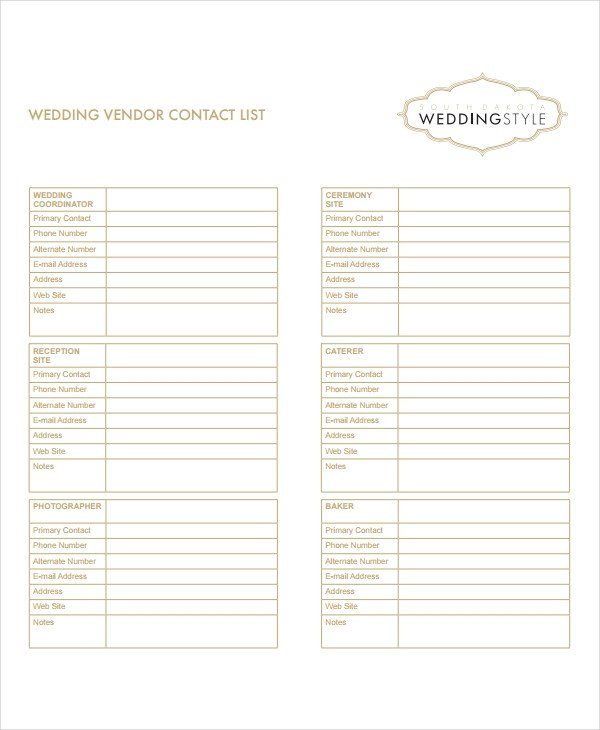 Wedding Vendor List Template 8 Vendor List Templates Pdf Doc