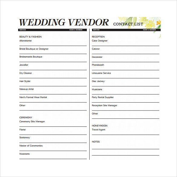Wedding Vendor List Template Contact List Template 14 Download Free Documents In Pdf