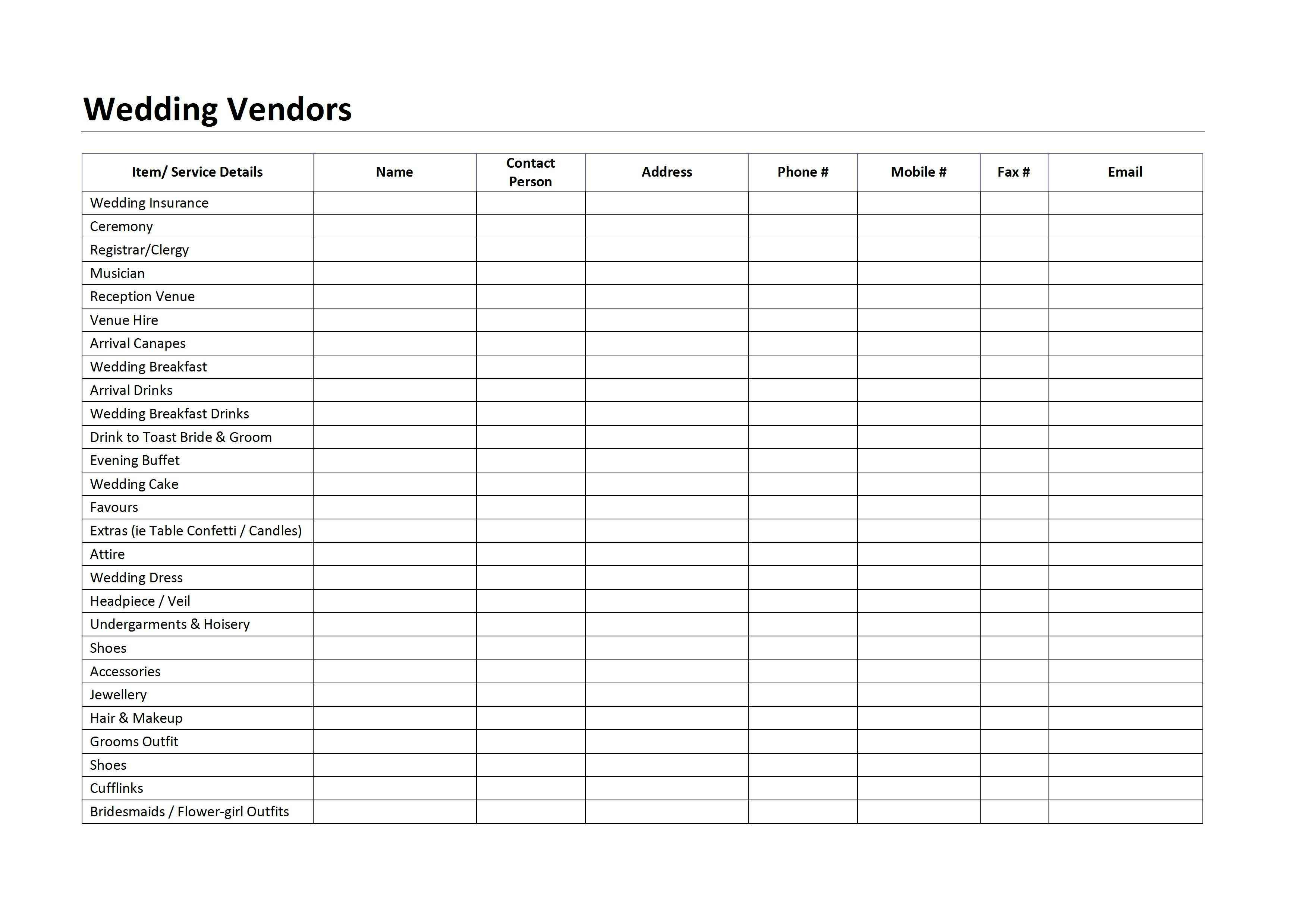 Wedding Vendor List Template Log Archives Page 2 Of 3
