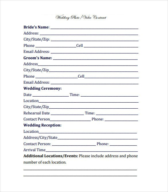 Wedding Videographer Contract Template Videography Contract Template 11 Download Free