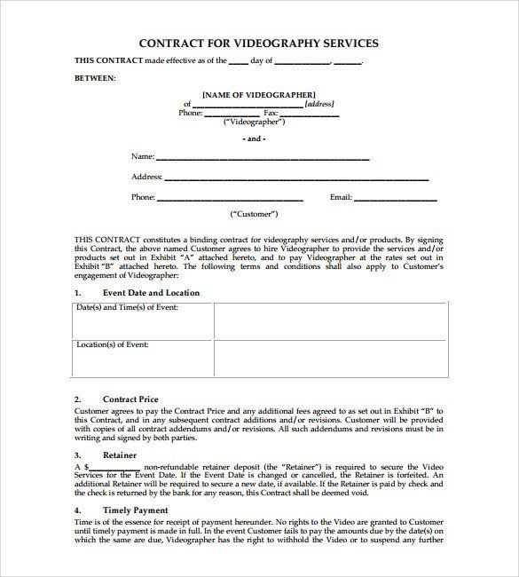 Wedding Videographer Contract Template Videography Contract Template 9 Download Documents In