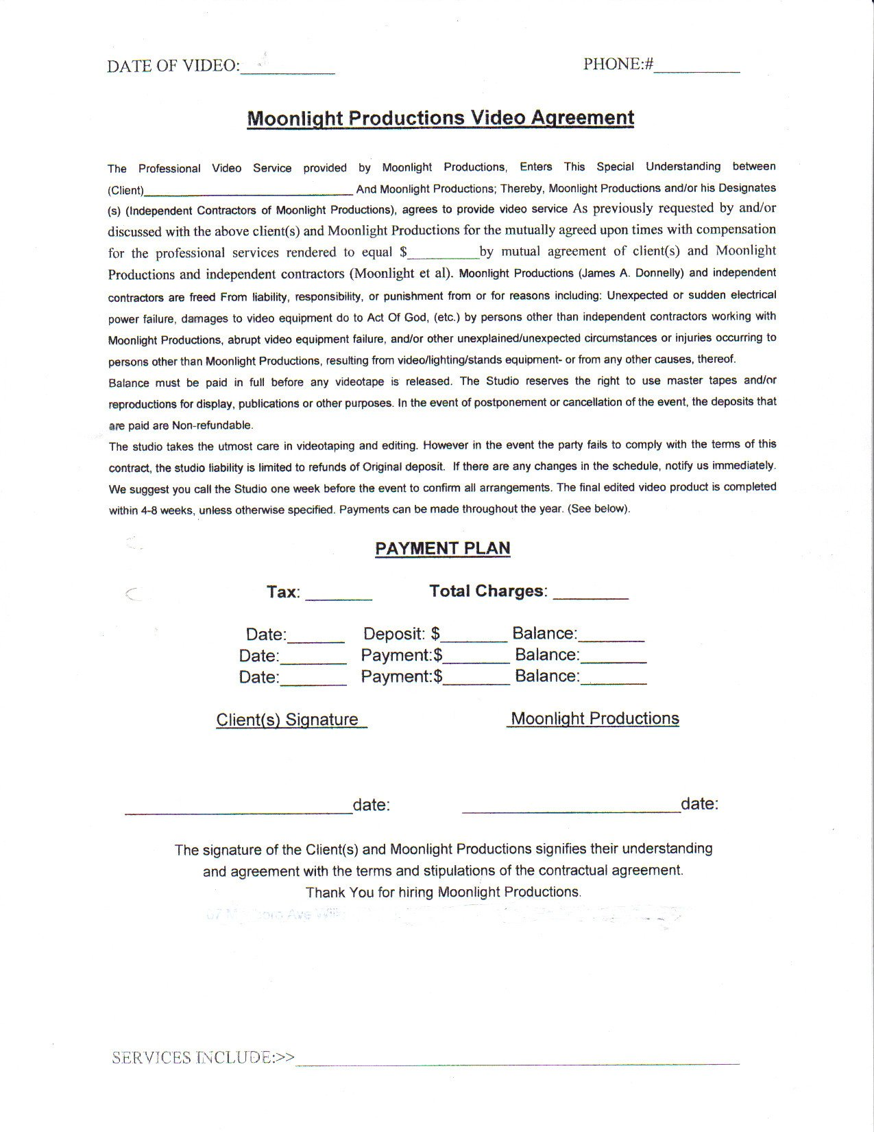 Wedding Videographer Contract Template Wedding Video Contract