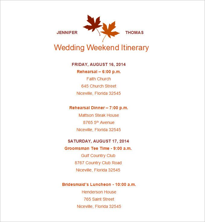 Wedding Weekend Itinerary Template 4 Sample Wedding Weekend Itinerary Templates Doc Pdf