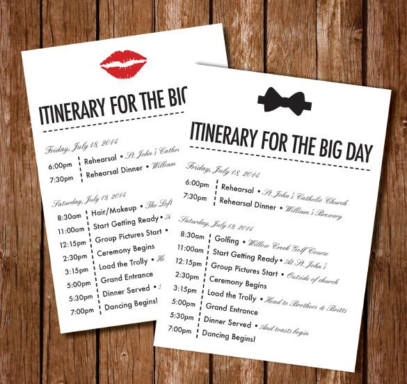 Wedding Weekend Itinerary Template 44 Wedding Itinerary Templates Doc Pdf Psd