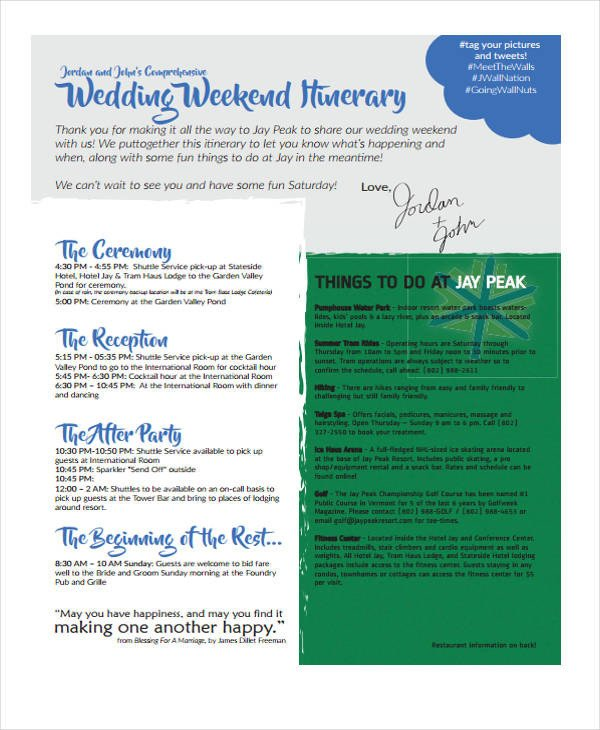 Wedding Weekend Itinerary Template 5 Weekend Itinerary Templates Free Sample Example