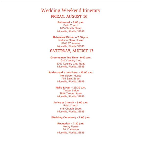 Wedding Weekend Itinerary Template Sample Wedding Weekend Itinerary Template 12 Documents