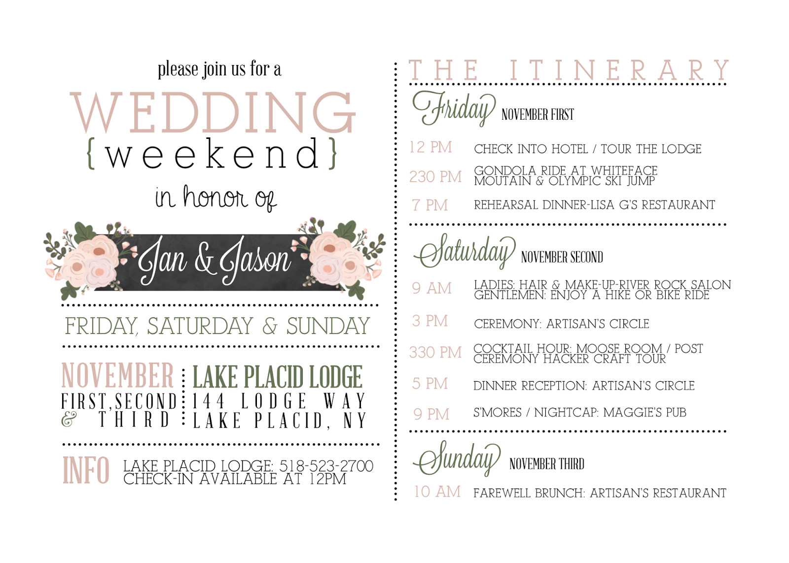 Wedding Weekend Itinerary Template Sugar Queens Weekend Itinerary Invites