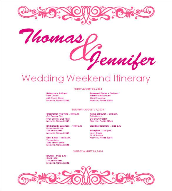 Wedding Weekend Itinerary Template Wedding Itinerary Template 11 Free Word Pdf Documents