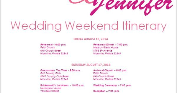 Wedding Weekend Itinerary Template Wedding Itinerary Wedding Itinerary Template Bridetodo