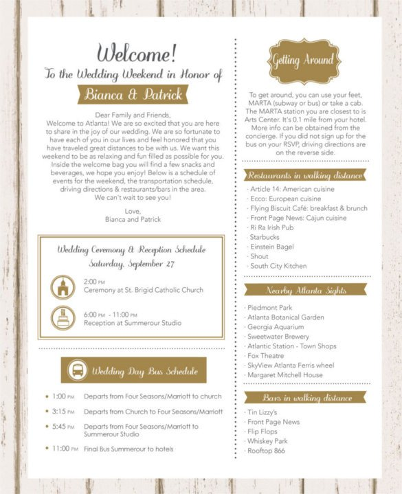 Wedding Welcome Letter Template 17 Wedding Template Doc Excel Pdf Psd Indesign