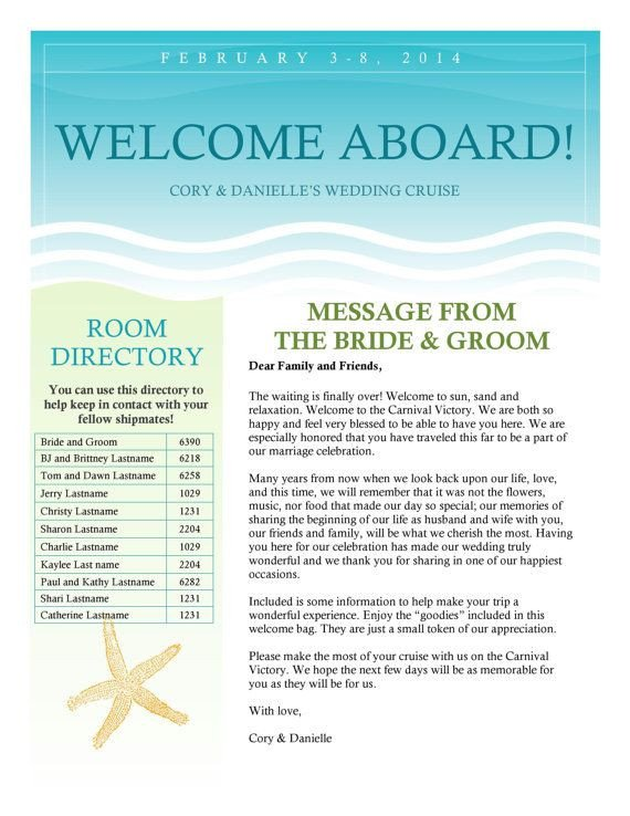 Wedding Welcome Letter Template Cruise Wedding Wel E Letter Newsletter by