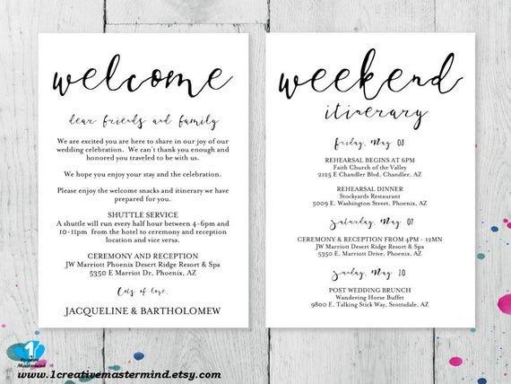 Wedding Welcome Letter Template Diy Wedding Wel E Bag Note Wel E Bag Letter Printable