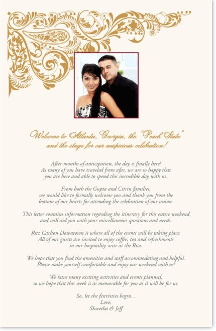 Wedding Welcome Letter Template Indian Wedding Wel E Letter