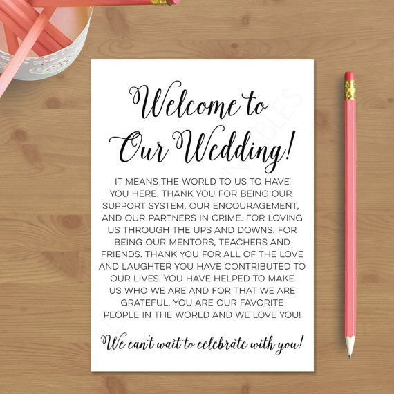 Wedding Welcome Letter Template Printable Wedding Wel E Letter Instant Download