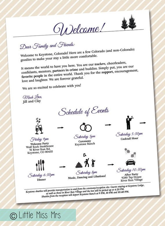 Wedding Welcome Letter Template Printable Wedding Wel E Letter Timeline Of events