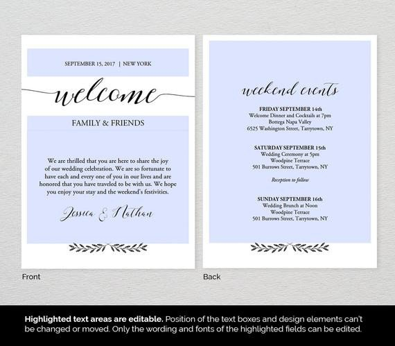Wedding Welcome Letter Template Wel E Bag Letter Template Wedding Wel E by