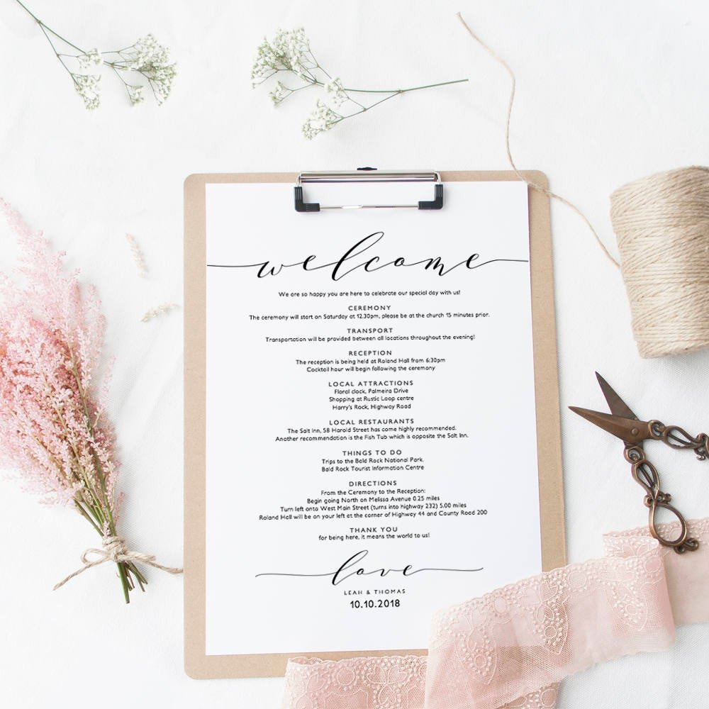 Wedding Welcome Letter Template Wel E Itinerary Wedding Guest Wel E Letter Template