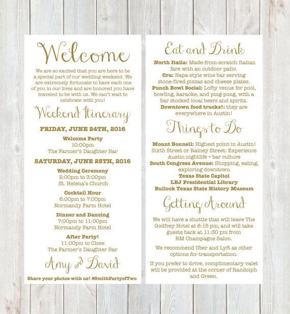 Wedding Welcome Letter Template Wel E Letter Weekend Itinerary Wedding Itinerary by