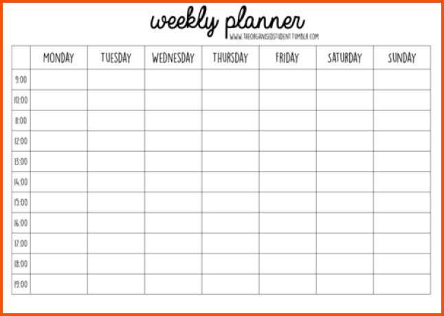Week Planner Template Word 11 Weekly Planner Template Word