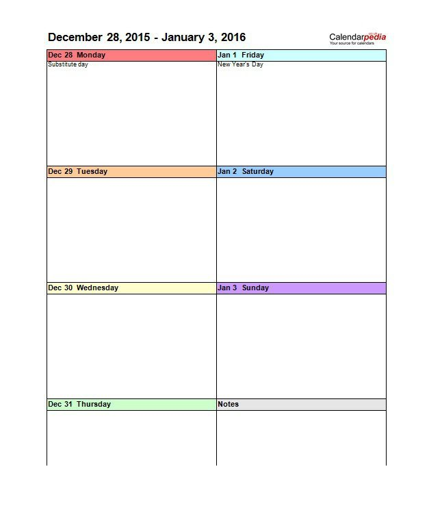 Week Planner Template Word 26 Blank Weekly Calendar Templates [pdf Excel Word]