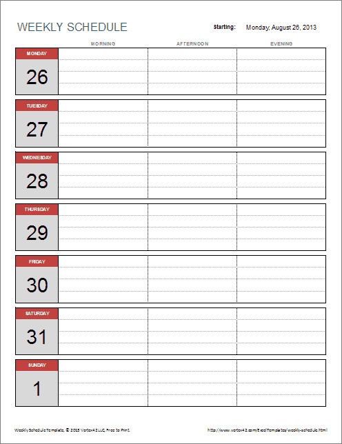 Week Planner Template Word 6 Weekly Schedule Templates Word Excel Pdf Templates