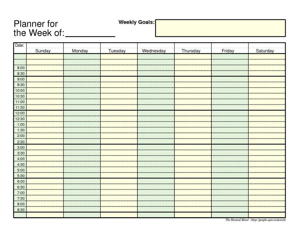Week Planner Template Word 7 Free Weekly Planner Templates Excel Pdf formats