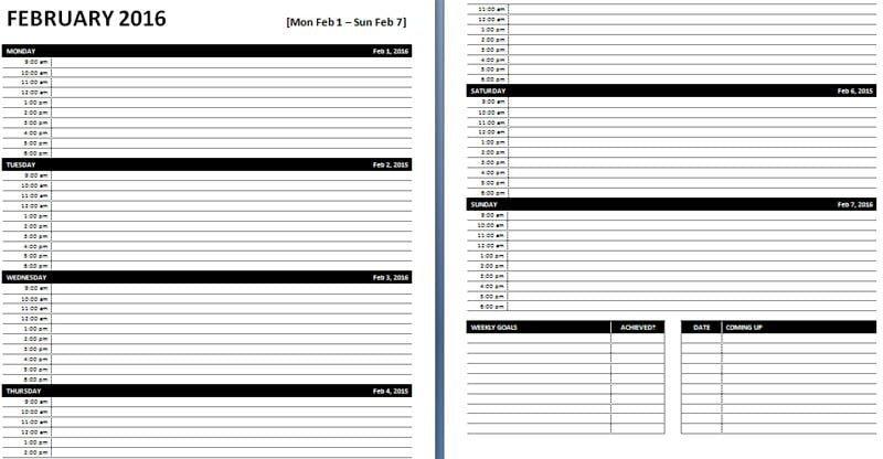 Week Planner Template Word Daily & Weekly Ms Word Planner Templates