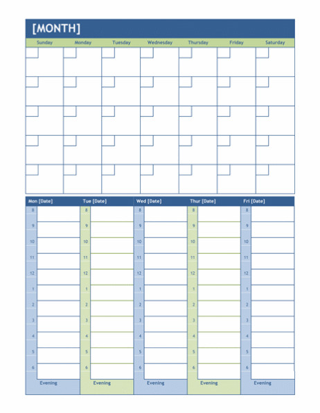 Week Planner Template Word Monthly and Weekly Planning Calendar