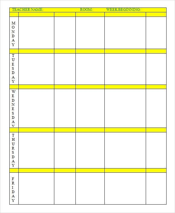 Week Planner Template Word Sample Weekly Lesson Plan 7 Documents In Word Excel Pdf
