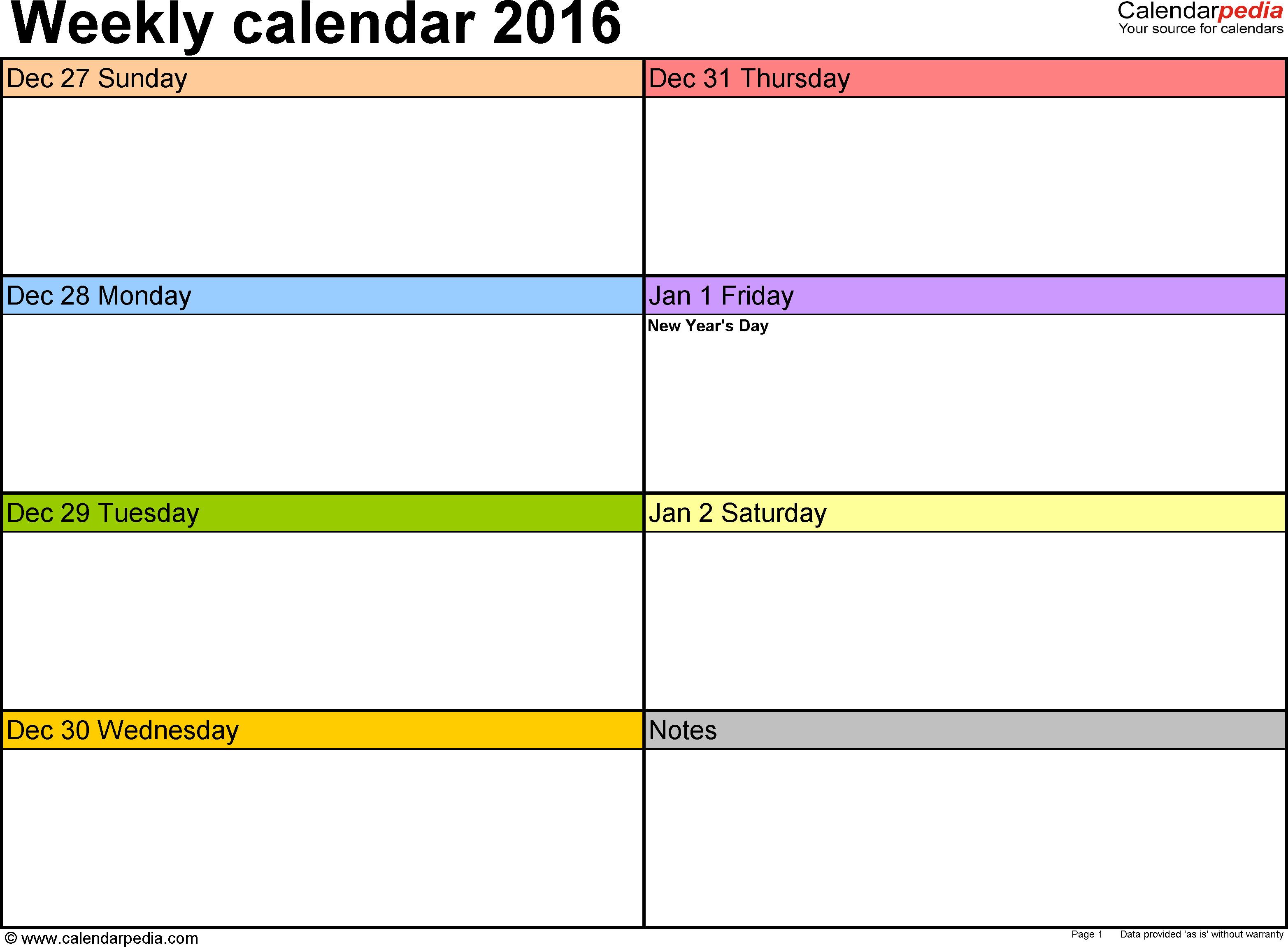 Week Planner Template Word Weekly Calendar 2016 for Word 12 Free Printable Templates