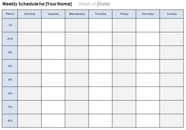 Week Planner Template Word Weekly Calendar Template Plan Daily or Weekly Tasks