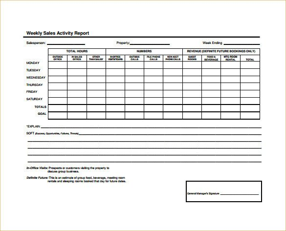 Weekly Activities Report Template 19 Sales Activity Report Templates Word Excel Pdf