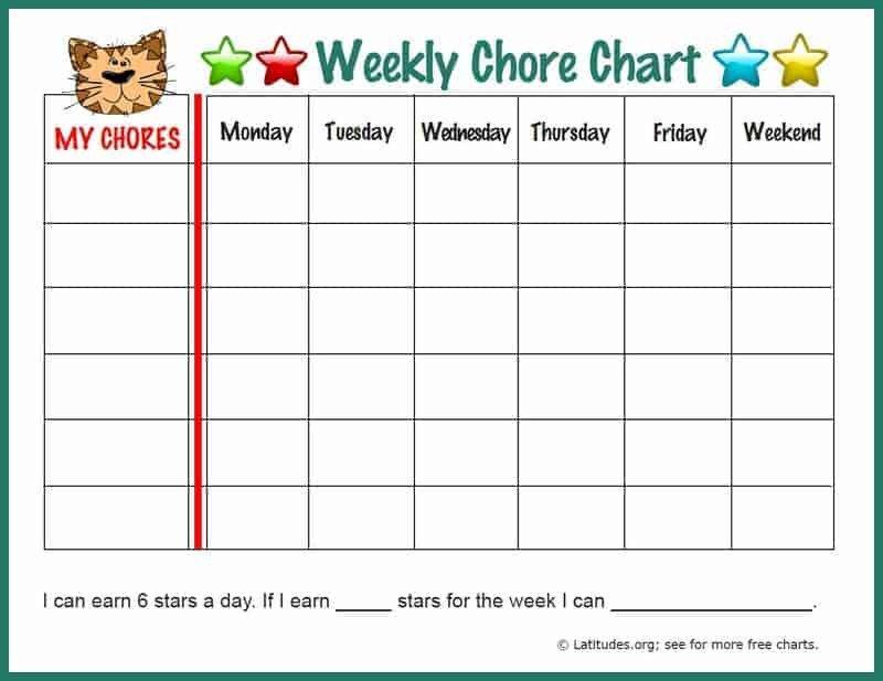 Weekly Chore Chart Printable Free Weekly Chore Chart Fun Tiger
