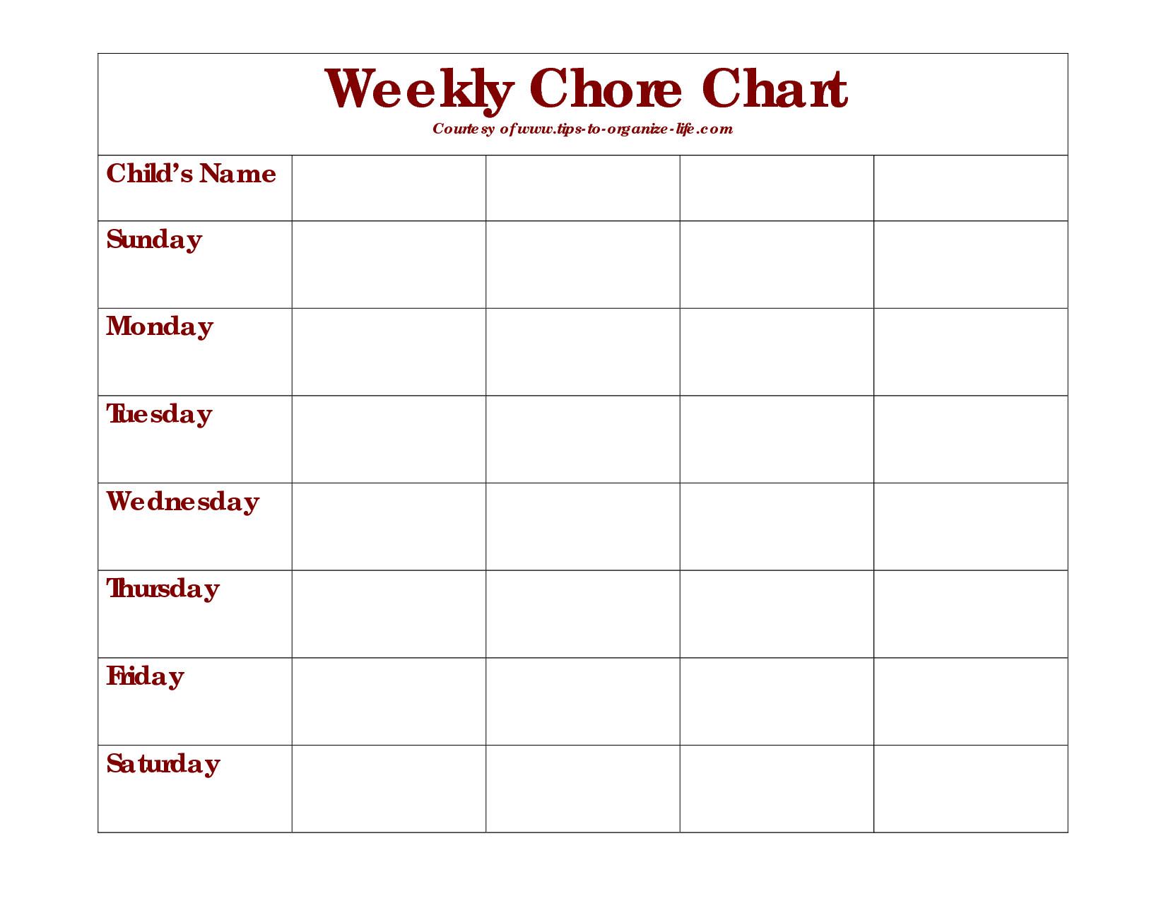Weekly Chore Chart Printable Weekly Chore Chart