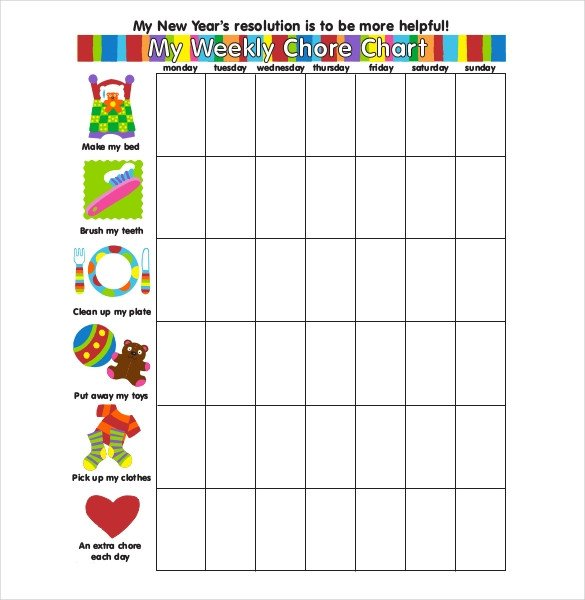Weekly Chore Chart Printable Weekly Chore Chart Template 24 Free Word Excel Pdf