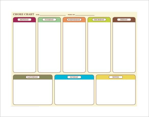 Weekly Chore Chart Templates 11 Sample Weekly Chore Chart Template Free Sample