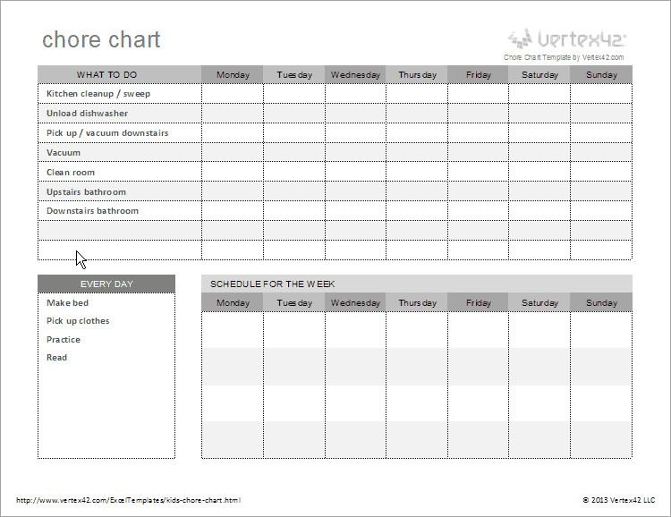 Weekly Chore Chart Templates Free Kids Chore Chart Template