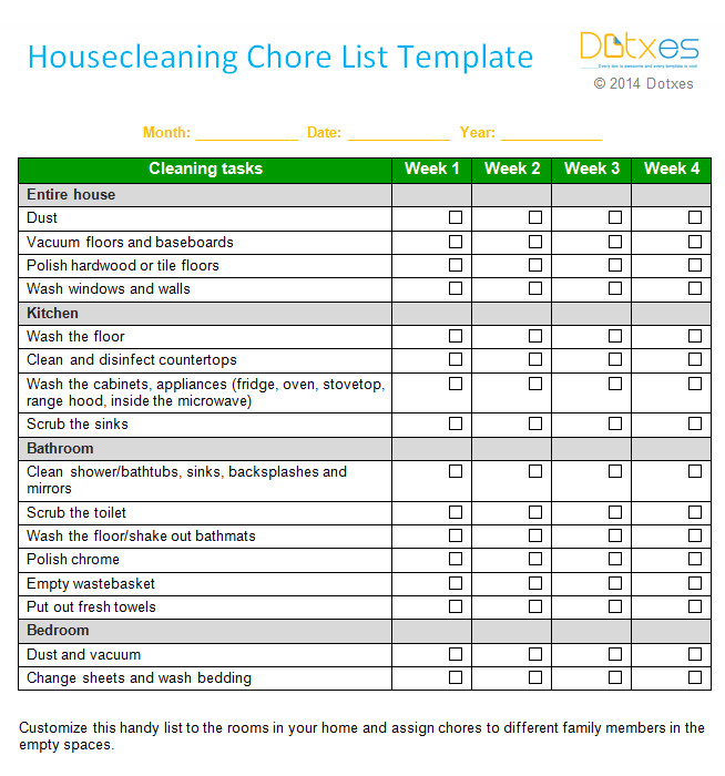 Weekly Chore Chart Templates House Cleaning Chore List Template Weekly Dotxes