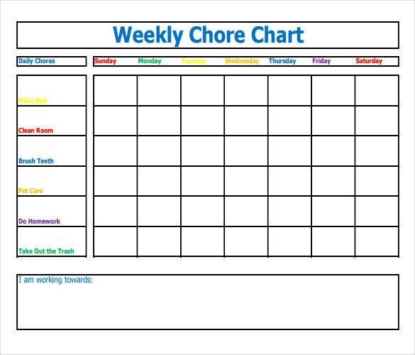 Weekly Chore Chart Templates How to Make Good Schedule Using 5 Chore List Template Types