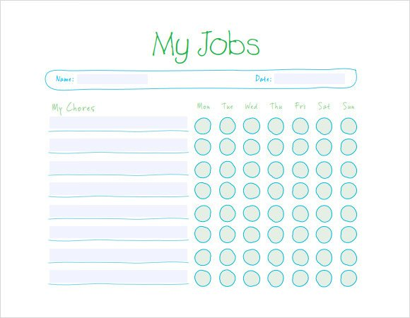 Weekly Chore Chart Templates Sample Kids Chore Chart Template 8 Free Documents In