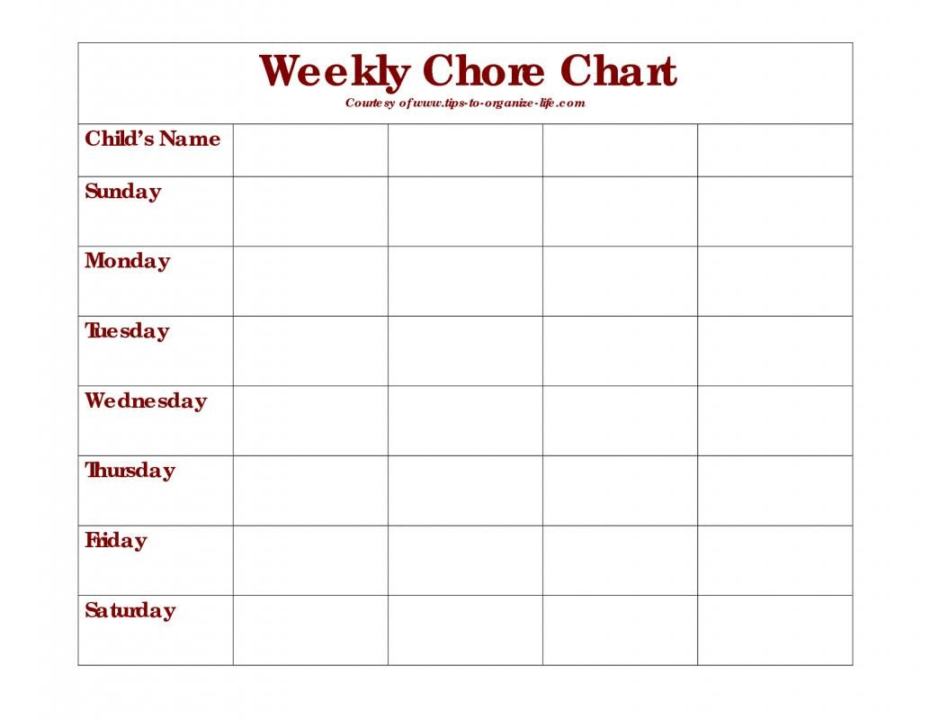 Weekly Chore Chart Templates Weekly Chore Chart Template
