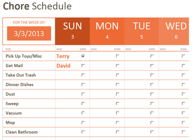 Weekly Chore Chart Templates Weekly Chore List Template Microsoft Fice Templates