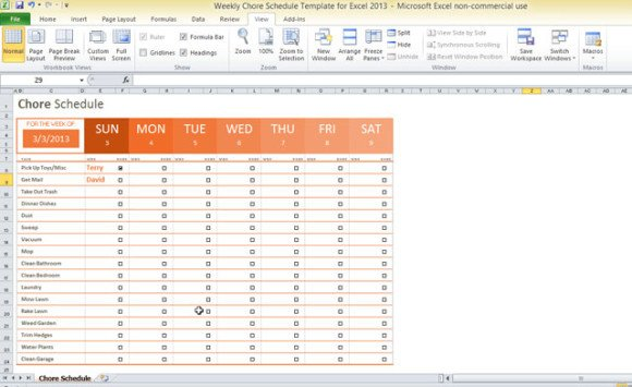 Weekly Chore Chart Templates Weekly Chore Schedule Template for Excel 2013