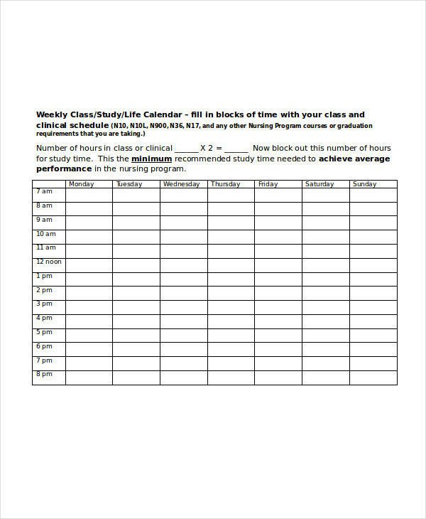 Weekly Class Schedule Template 11 Student Schedule Samples Pdf Word