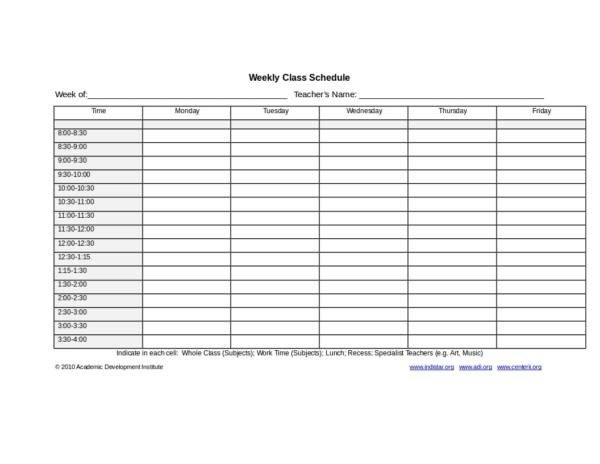 Weekly Class Schedule Template 18 Weekly Group Schedule Templates Pdf Word Excel