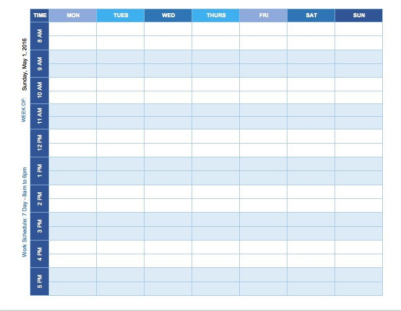 Weekly Class Schedule Template Free Weekly Schedule Templates for Excel Smartsheet