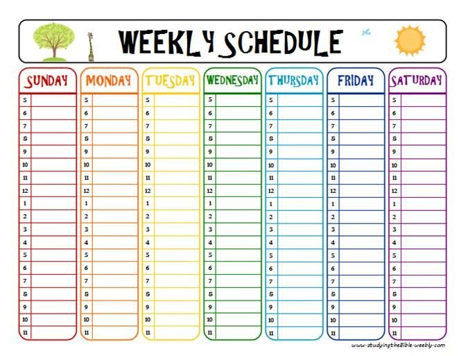 Weekly Class Schedule Template Printable Week Schedule to Help with Homework and after