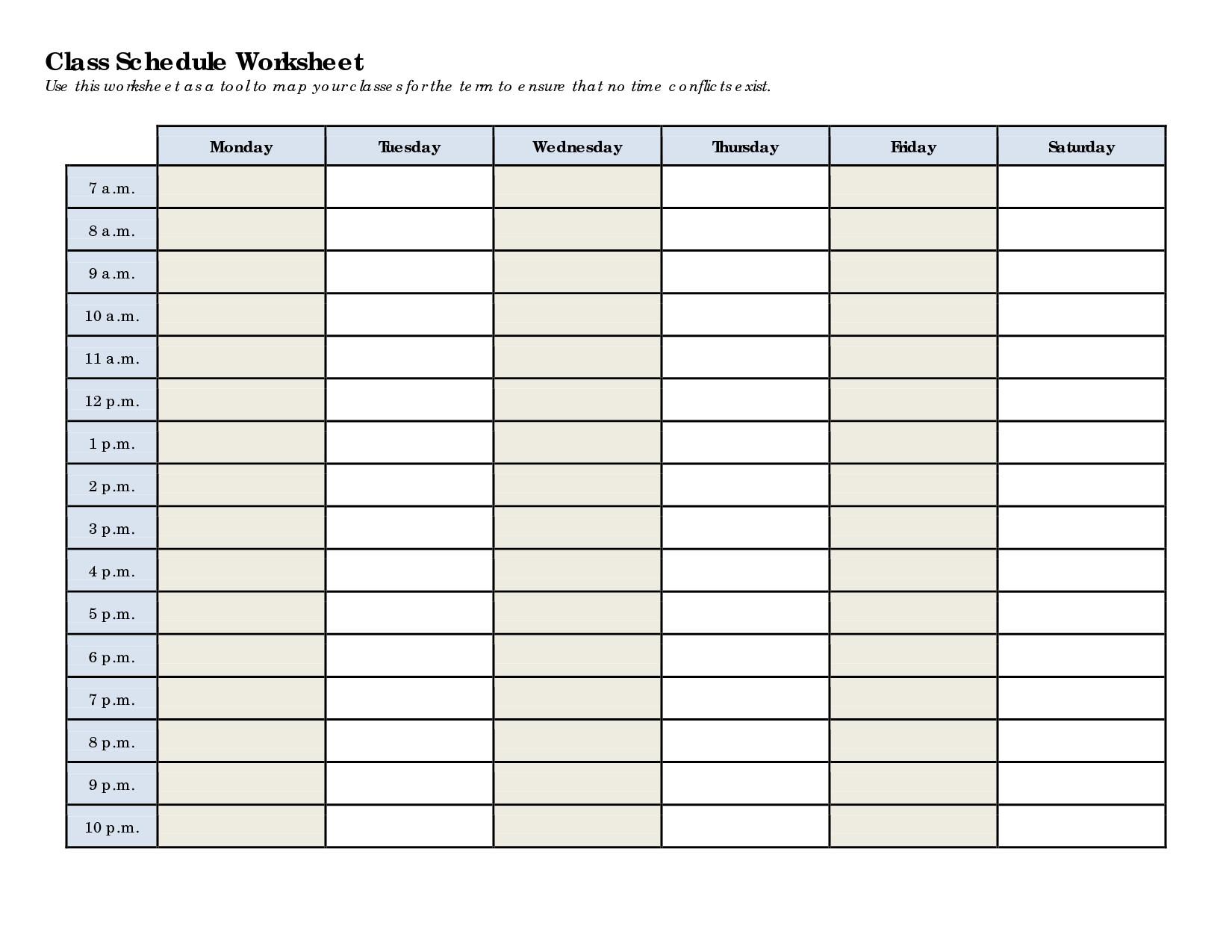 Weekly Class Schedule Template Schedule Worksheet Templates Homeschool