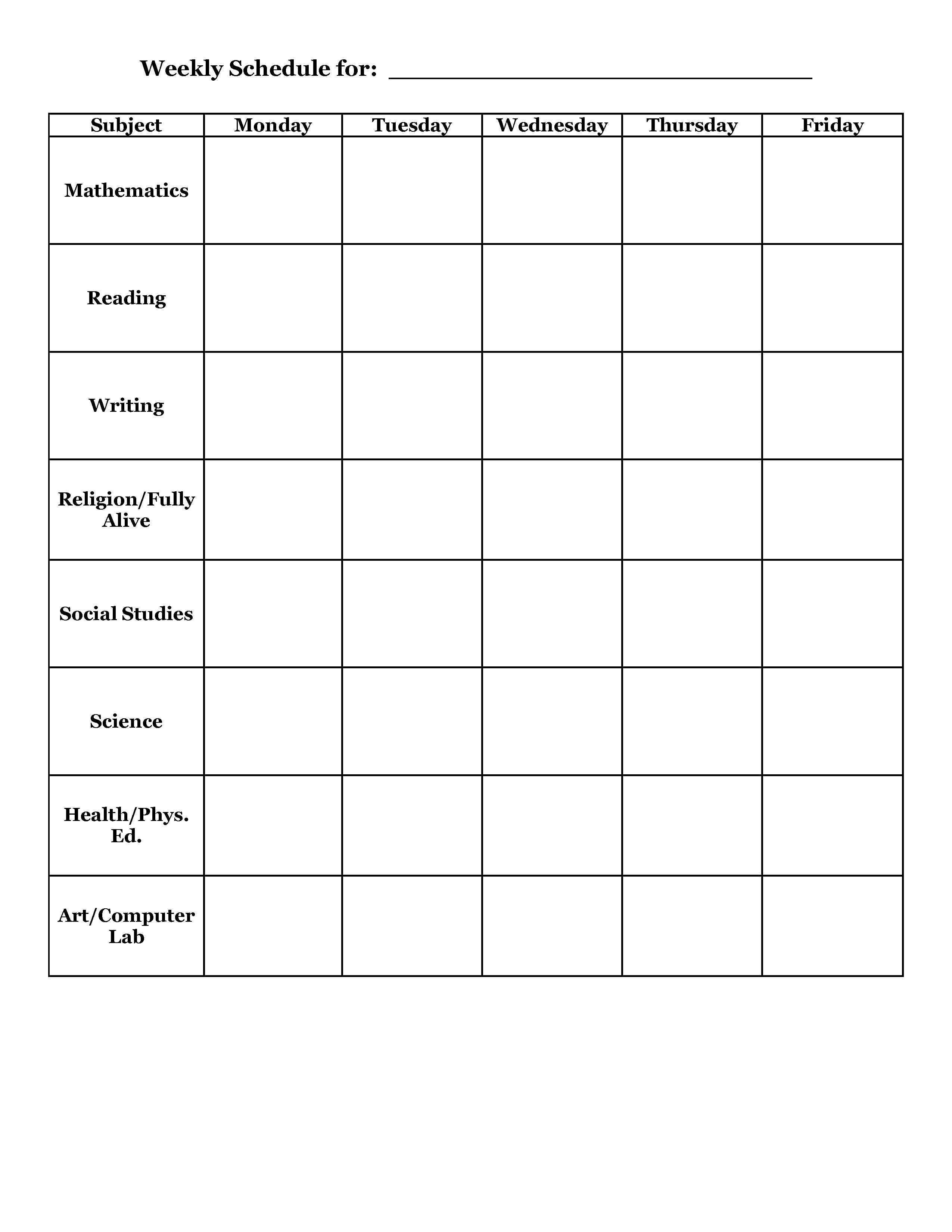 Weekly Class Schedule Template Student Planner Templates
